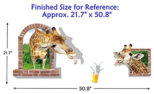 AUVS® 3D Lebendige Tiere- Selbstklebende Abnehmbaren Durchbrechen Die Mauer Vinyl Wandsticker / Wandgemälde Kunst Aufkleber Dekorateur (Komisch Trinken Giraffe (60 * (Komisch Passt)