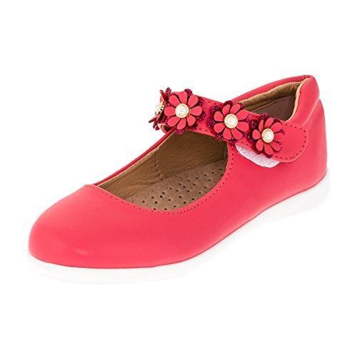 Festliche Mädchen Ballerinas Schuhe mit Echt Leder Innensohle M418rt Rot 27
