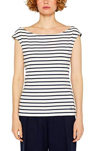 Blau Gestreiftes T-shirt Top (edc by ESPRIT Damen 049CC1K019 Top, Blau (Navy 400), Small (Herstellergröße: S))