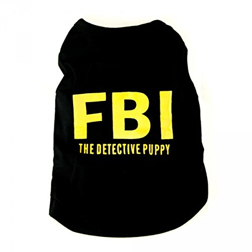 Perro de manga larga, verano Camiseta para perros con amarillas FBI aufdruck