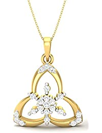"P-Gitanjali 0.25 CT Round CZ Diamond 18k Yellow Gold Plated Designer Pendant With 18"" Chain PGP1053"