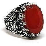 خاتم فضة رجالي مع حجر العقيق اليماني أحمر مكون من قطعة واحدة - مقاس 10.5