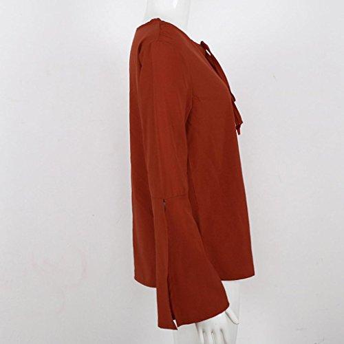 Vovotrade Chemisier Femme Casual élégant Tops Lanterne Manche Longue Sweatshirt Rouge