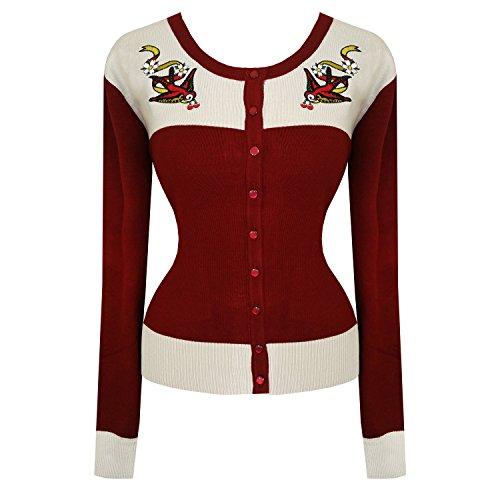 Da Donna Vintage 1940s 1950s Retro Rondini Tatuaggio Cardigan Top Rockabilly Qualità Eccellente - Rosso Bordeaux, 14 L