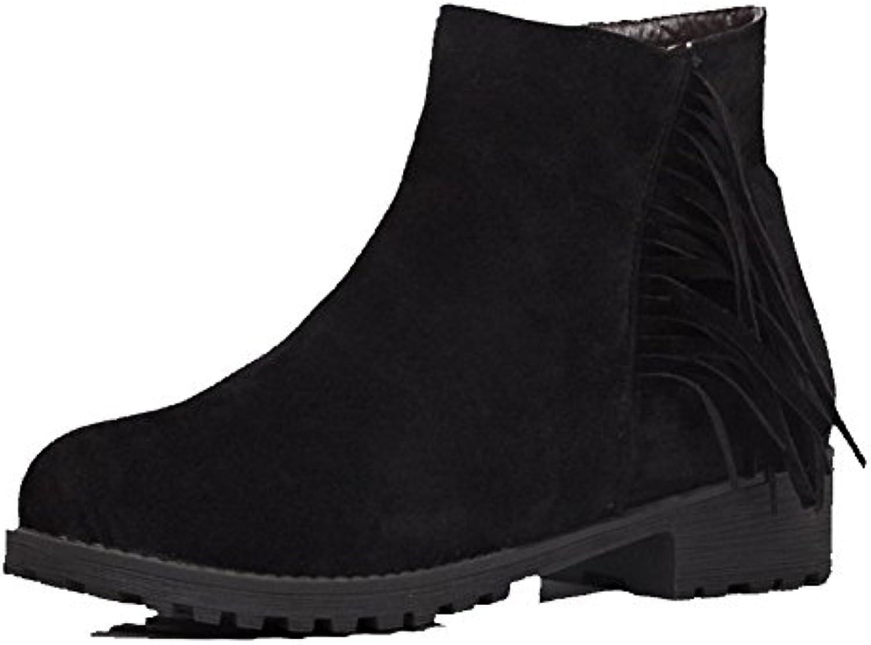 AllhqFashion Damen Pu Ziehen auf Rein Mittler Absatz Pumps Schuhe Cremefarben 36