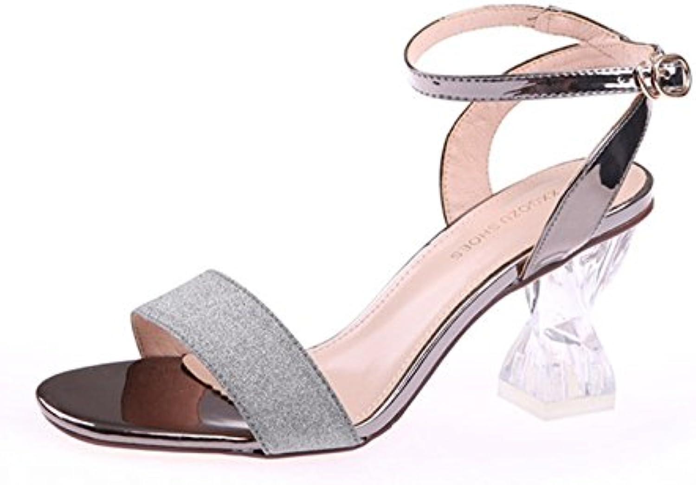 KPHY-Crystal Shoes Verano Dedos De Los Pies Lentejuelas Hollow 8Cm Gruesos Tacones Tacones Altos Hebillas Sandalias.Treinta...