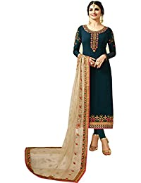 Stylish Fashion Prachi Desai Teal Blue Embroidered Straight Salwar Suit With Designer Dupatta