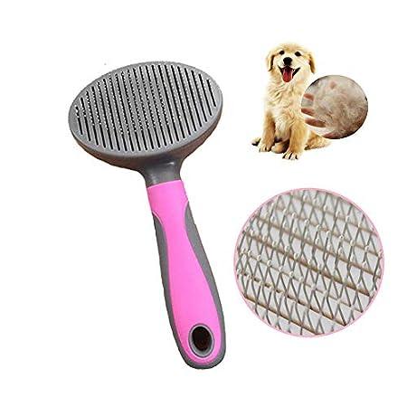 Amasawa Pet Kamm,Fellpflege Katzenbürste Hundebürste,Haustier Selbstreinigender Kamm,Hundebürste Katzenbürste Fellpflege Selbstreinigende Rundkopfbürste für Gesundes Fell (Feine Nadel)