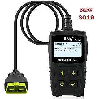 JDiag OBD2 Auto Diagnosegerät OBD II Code Scanner EOBD für alle Fahrzeug ab 2000 mit OBD II Protokolle, mit standard 16-pin OBD-II Schnittstelle für Lesen und Löschen von Fehlercodes,Batterietest