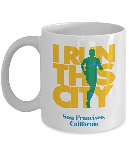 Make Your Mark Design I Run San Francisco City, California Print Coffee & Tea Gift Mug, Souvenirs, Merchandise and Long Distance Marathon Running Themed Gifts for Men & Women Runners (Supplies Francisco San Party)