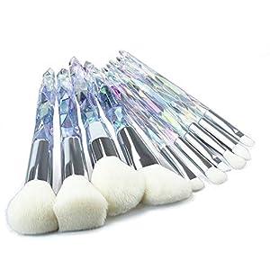 Teabelle 10pcs / Set Brochas de Maquillaje Diamante Unicornio Pincel de Cristal Pinceles Maquillaje Herramienta Cosmética Blanco
