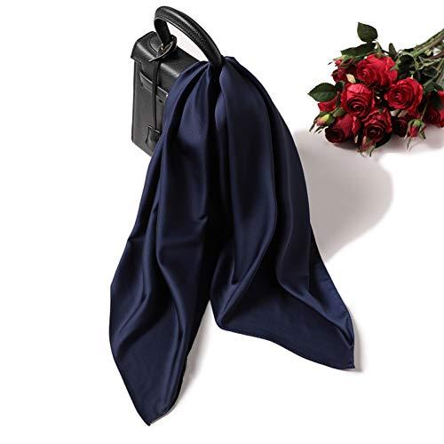 GSDWJ Sciarpa di Seta delle Donne di Estate della Molla Scialle dello Scialo della Sciarpa del Collo dei Capelli della Signora di Colore Solido Morbido Bandana Dell'Ufficio di Colore Solido-Navy