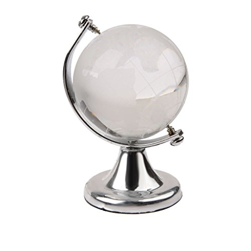 Imported Silver Stand Crystal World Globe Wedding Gift Paperweight Vastu Feng shui