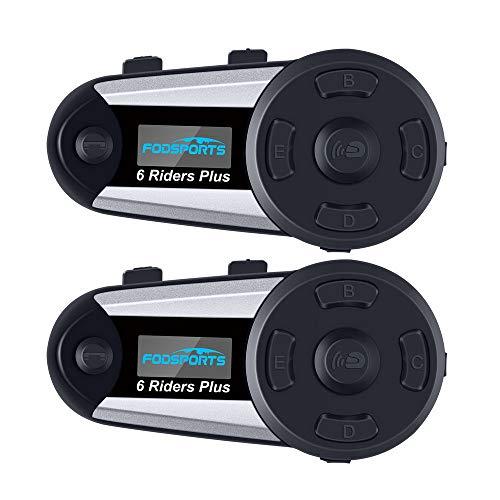 Fodsports Moto Bluetooth Intercom, 1200M Casque systeme communication Moto Headsets Interphone avec GPS, FM radio, MP3 Player, Connecter Jusqu'à 6 Riders (2 pack V6 plus)