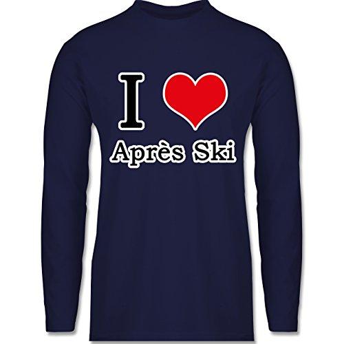 Après Ski - I love Après Ski weiße Kontur - Longsleeve / langärmeliges T-Shirt für Herren Navy Blau