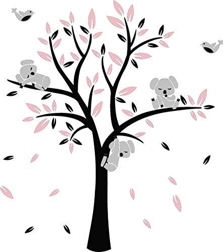 AIYANG Kinderzimmer Wandtattoo,Koala-Baum-Wandabziehbild Kindergarten Aufkleber Vögel Koalas Wandsticker (Black,Pink)