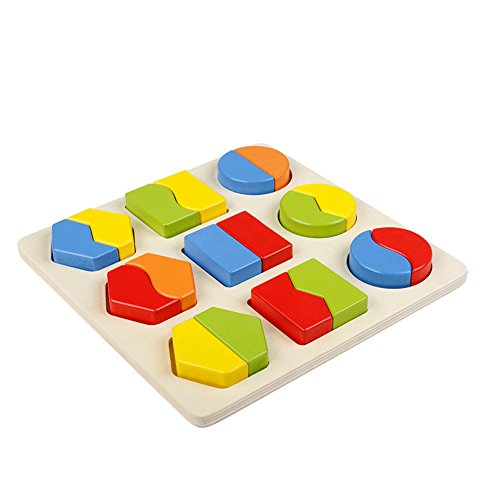 Jacootoys 18 Pieces Geometric Wooden Shape Chunky Puzzle Preschool Math Early Development Educational Toys for Toddlers