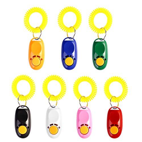 UEETEK Clicker Adiestramiento Perros Mascotas con Correa de Muñeca 7 Colores 7...