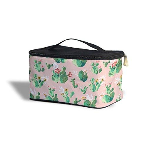 Cactus en fleurs cosmétiques maquillage étui de rangement – Fermeture éclair sac de voyage, rose, One Size Cosmetics Storage Case