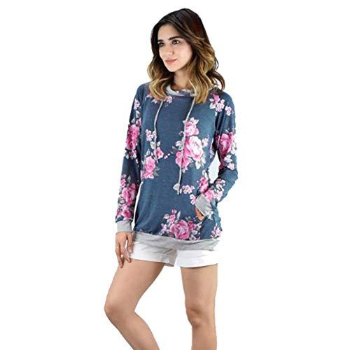 MEIbax Mujeres Estampaci¨n Floral Suelta Sudadera con Capucha Blusa Jersey Tops Camiseta