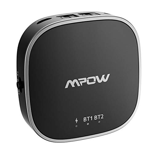 Mpow Bluetooth Transmitter Empfänger, 2-in-1 Bluetooth Adapter mit V5,0, Digitale optische TOSLINK-, AUX- und RCA-Anschlüsse unterstützen aptX, aptX Low Latency, aptX-HD, AAC, SBC für TV-Audio usw. Radio Tv Bluetooth