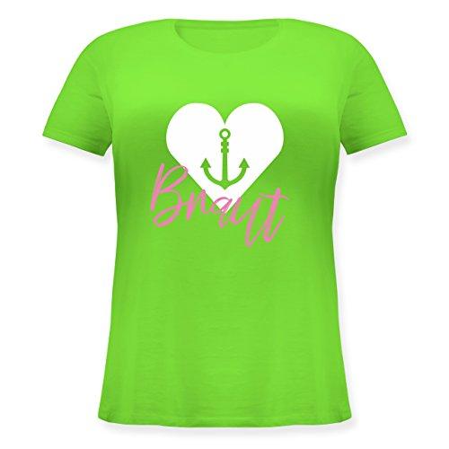 Shirtracer JGA Junggesellinnenabschied - Braut Anker - Lockeres Damen-Shirt in Großen Größen mit Rundhalsausschnitt Hellgrün