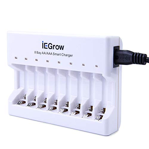 Caricabatterie a 8 slot con indicatore led, iegrow caricabatteria per aa aaa ni-mh ni-cd batteria