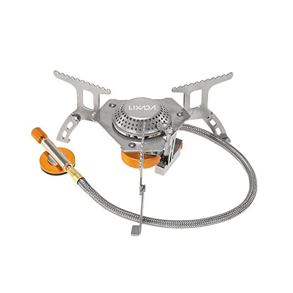 Lixada Camping Gas Stove, Big Power Windproof Camping Stove Portable Foldable Split Furnace Stove Cooking Burner with Carry Case Box 3000W/3200W 1