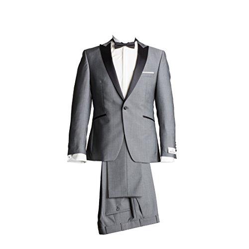 Wilvorst Anzug Smoking Sakko Smoking Hose ohne Bundfalte Grau Drop8 Extra Schmal Tailliert Geschnitten Runder Schalkragen 84% Wolle 16% Mohairwolle 230g 46 -