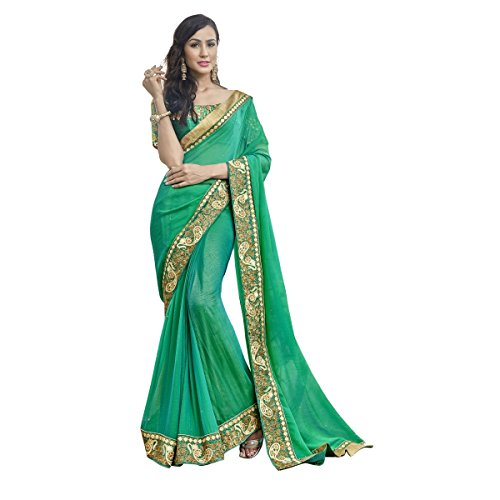 Triveni Womens Chiffon Border Worked Festival Green Colour saree with Blouse -TSNNG1822