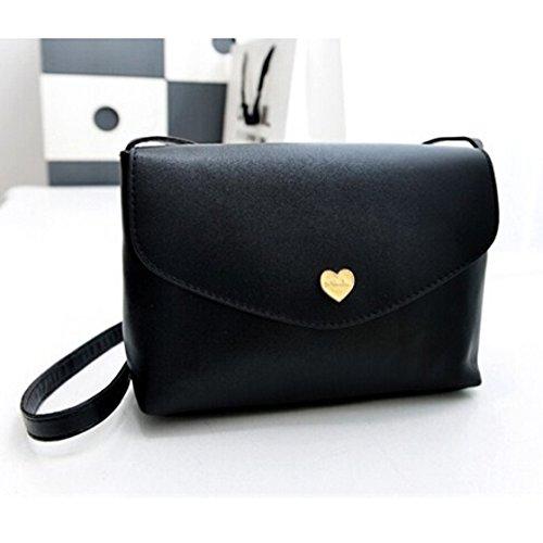 SODIAL(R) Sacchetti di spalla del corpo trasversale delle borse di cuoio delle donne calde di vendita I sacchetti del messaggero di modo dei sacchetti delle piccole donne Rosa caldo Nero