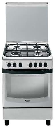 Hotpoint CX65SP1 (X) I/HA Autonome Cuisinière à gaz A Acier inoxydable - Fours et cuisinières (Cuisinière, Acier inoxydable, Rotatif, Devant, Cuisinière à gaz, Electrique)