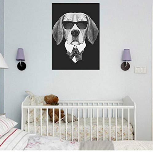 cptbtptp Hund Serie Tragen Sonnenbrille Malerei Kühlen Tier Nordic Wohnkultur Wandkunst Bild Poster Leinwand Wohnzimmer Schlafzimmer Korridor 50x70 cm