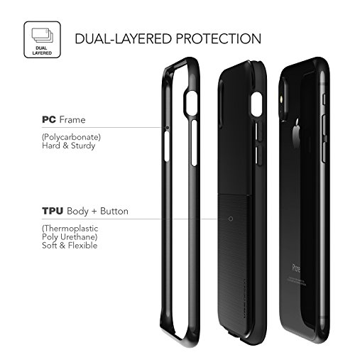 iPhone X Hülle, VRS Design® Schutzhülle [Schwarz] Doppelschichter Schutz Premium Silikon und PC Case Dual Layer TPU Bumper Cover Handyhülle [High Pro Shield] für Apple iPhone X, iPhone 10 Schwarz