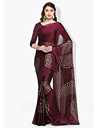 Womanista Crepe Saree with Blouse Piece (FSP0384A_Burgundy_Onesize)