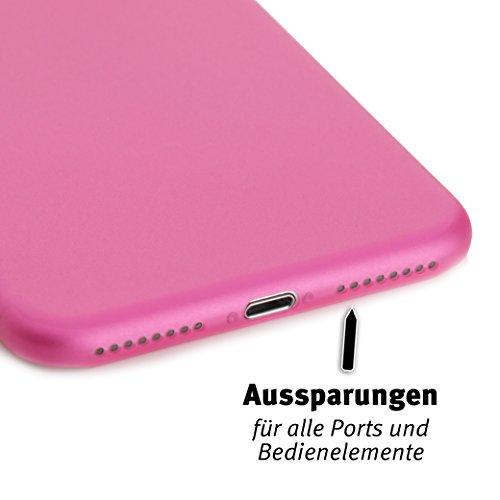 ArktisPRO iPhone 7 Plus Federleichte Schutzhülle matt schwarz-transparent Pink/Transparent