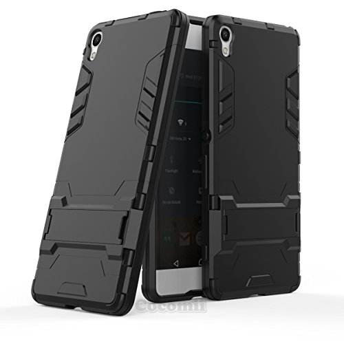Sony Xperia XA Hülle, Cocomii Iron Man Armor NEW [Heavy Duty] Premium Tactical Grip Kickstand Shockproof Hard Bumper Shell [Military Defender] Full Body Dual Layer Rugged Cover Case Schutzhülle F3111 F3113 F3115 F3112 F3116 (Jet Black) (Sony Slim Camera Case)