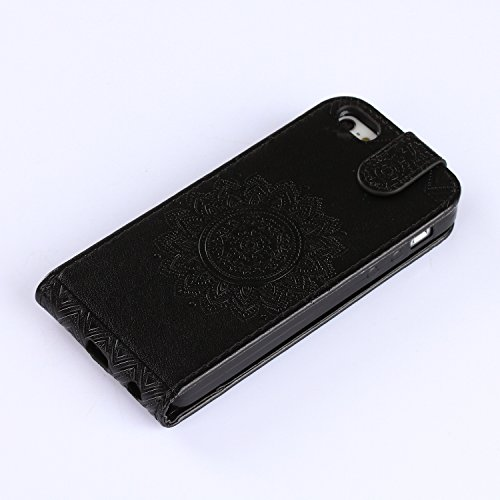 iPhone 5S Custodia Flip,iPhone SE Custodia in Pelle,Slynmax Stampato Copertura di Ccuoio Folio Cover in PU Dipinto Sintetica Ecopelle Guscio Wallet Case per Apple iPhone 5/5S/SE Protezione Caso Ultra  Nero