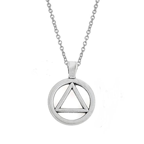 Zinc Alloy AA Symbol Alcoholics Anonymous Pendant Necklace Jewelry Gifts