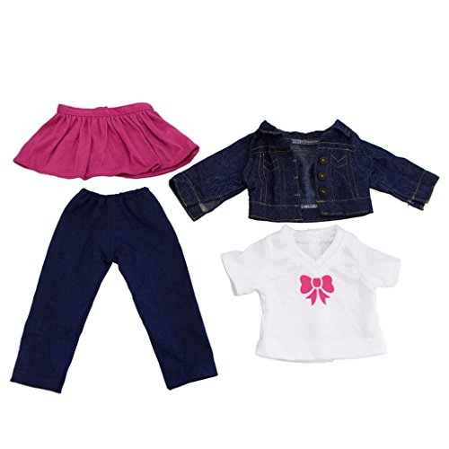MagiDeal 4PCS Clothes for 18'' American Girl Our Generation Doll White Shirt Tops Jeans Jacket Outfit Pants Trousers Dress Skirt Clothing