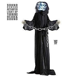 WIDMANN vd-wdm01408Grim Reaper animado con cabeza giratoria, color negro, talla única