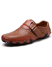 Qiusa Zapatos de patrón de cocodrilo de la Hebilla para los Hombres Zapatos de Gran tamaño