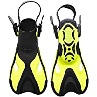 1 Pair Training Fins Short Training Fins Smart Short Blade Swim Fins Training Swimming Snorkeling Fins For Adults And Kids Outdoor Diving Training Swim Flippers - Black Yellow, S/M, 24-29/US9-13