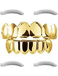 With 24 K Gold Plated Grillz for Upper and Lower Gear Series Hip Hop Bit + 2 Extra Strip Moulding