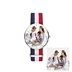 Idea Regalo - Hacool classico personalizzato immagine orologio per uomini donne bambini-personalizzata con qualsiasi foto orologio da polso.