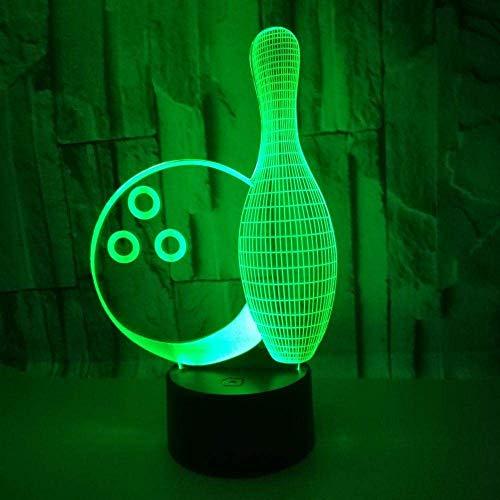 Bowling 3D Illusionslampe Bunte Note Fernbedienung Dekoration Nachtlicht