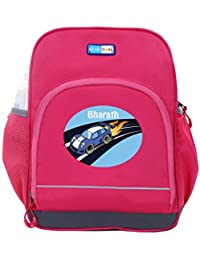 UniQBees Personalised School Bag With Name (Little Life Pre-School Backpack-Pink-Hot Wheelzz)