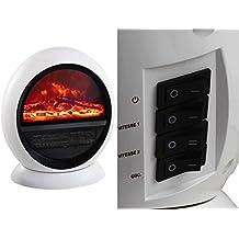 Calefactor Calentador de cerámica efecto chimenea Horno Calefacción Función oscilante Protección contra sobrecalentamiento (1500 W