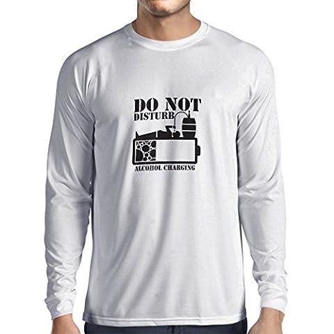 Langarm Herren t shirts Alkoholaufladung - Party Geschenkideen (X-Large Weiß Schwarz)