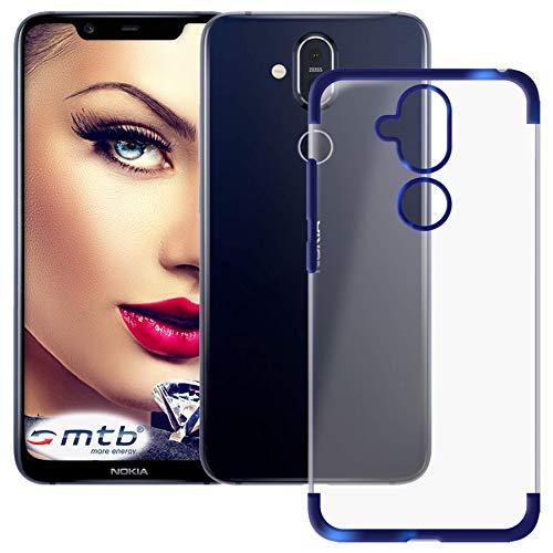 mtb more energy® Custodia Elegance per Nokia 8.1 Dual SIM (6.18'') | Blu | Flessibile | Frame Cornice TPU Silicone Case Cover